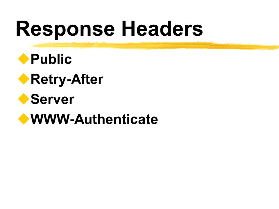 Response Headers Public Retry-After Server WWW-Authenticate