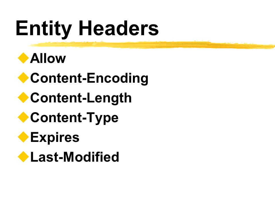 Entity Headers Allow Content-Encoding Content-Length Content-Type