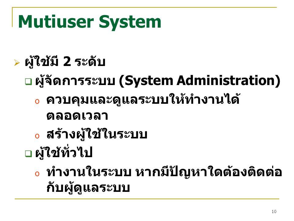 Mutiuser System ผู้ใช้มี 2 ระดับ ผู้จัดการระบบ (System Administration)