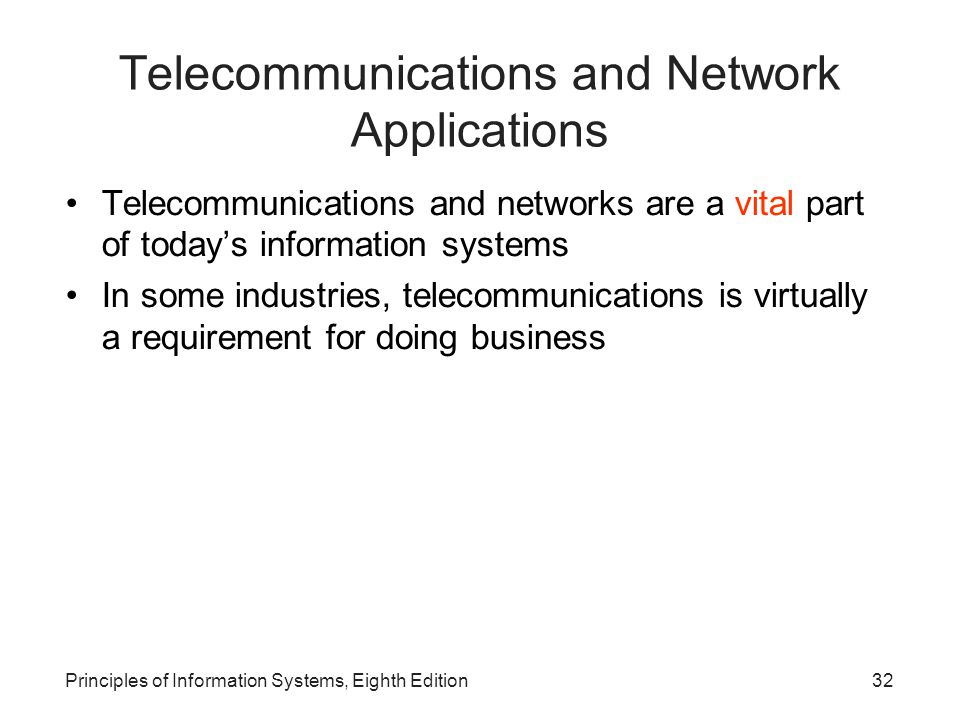 Telecommunications and Network Applications