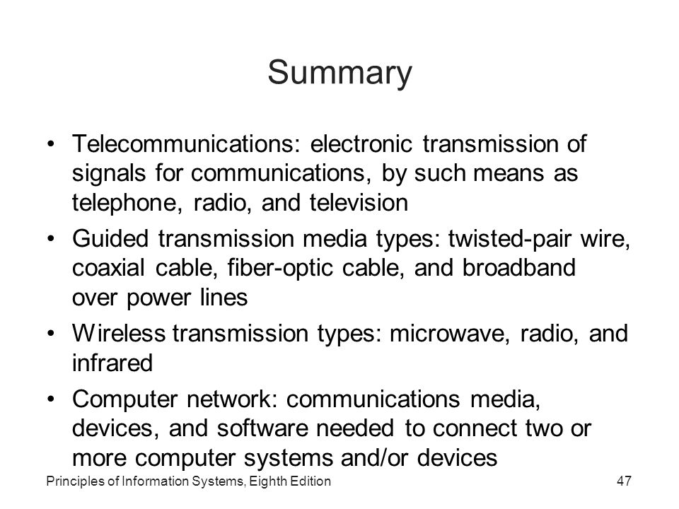 Summary Telecommunications: electronic transmission of signals for communications, by such means as telephone, radio, and television.