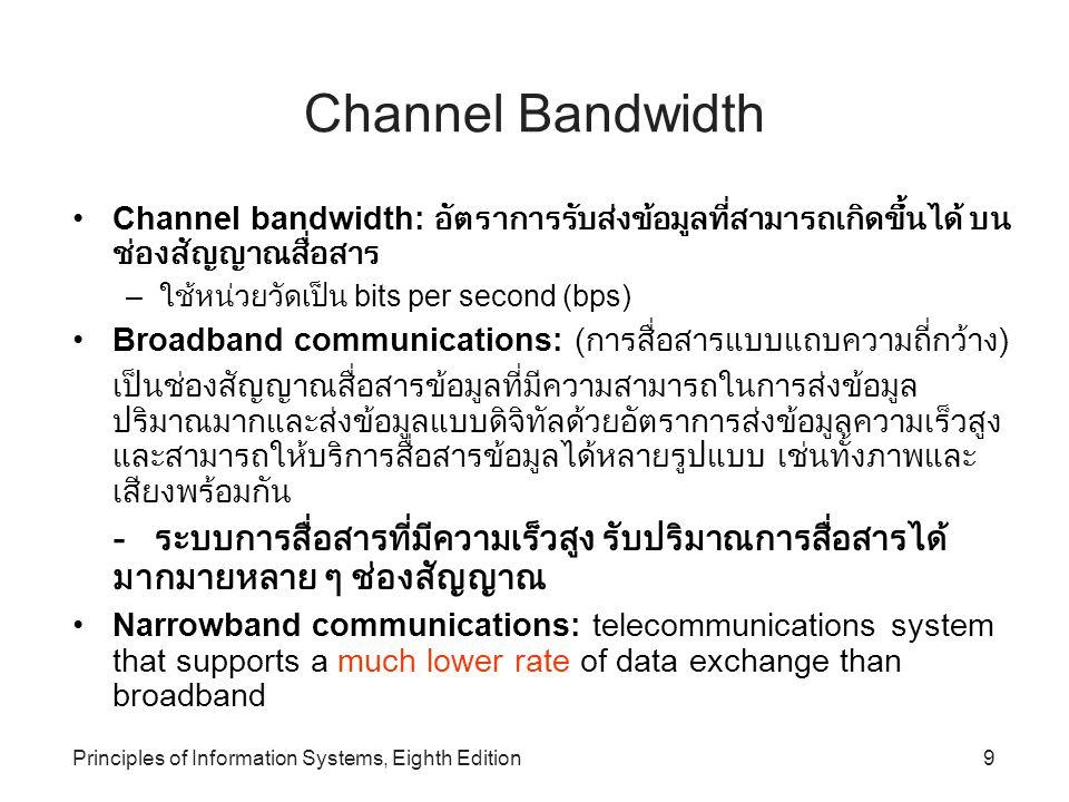 Channel Bandwidth Channel bandwidth: อัตราการรับส่งข้อมูลที่สามารถเกิดขึ้นได้ บนช่องสัญญาณสื่อสาร. ใช้หน่วยวัดเป็น bits per second (bps)
