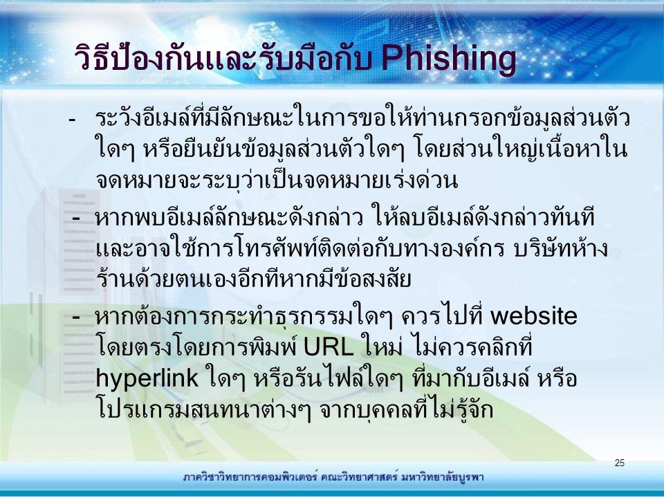 วิธีป้องกันและรับมือกับ Phishing