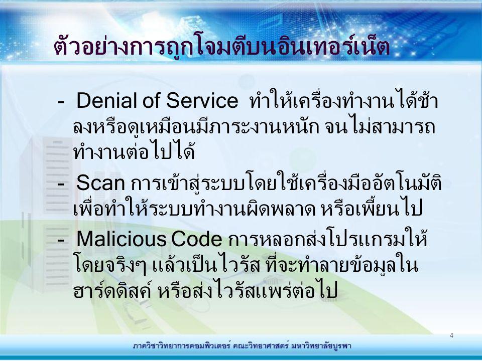 ตัวอย่างการถูกโจมตีบนอินเทอร์เน็ต