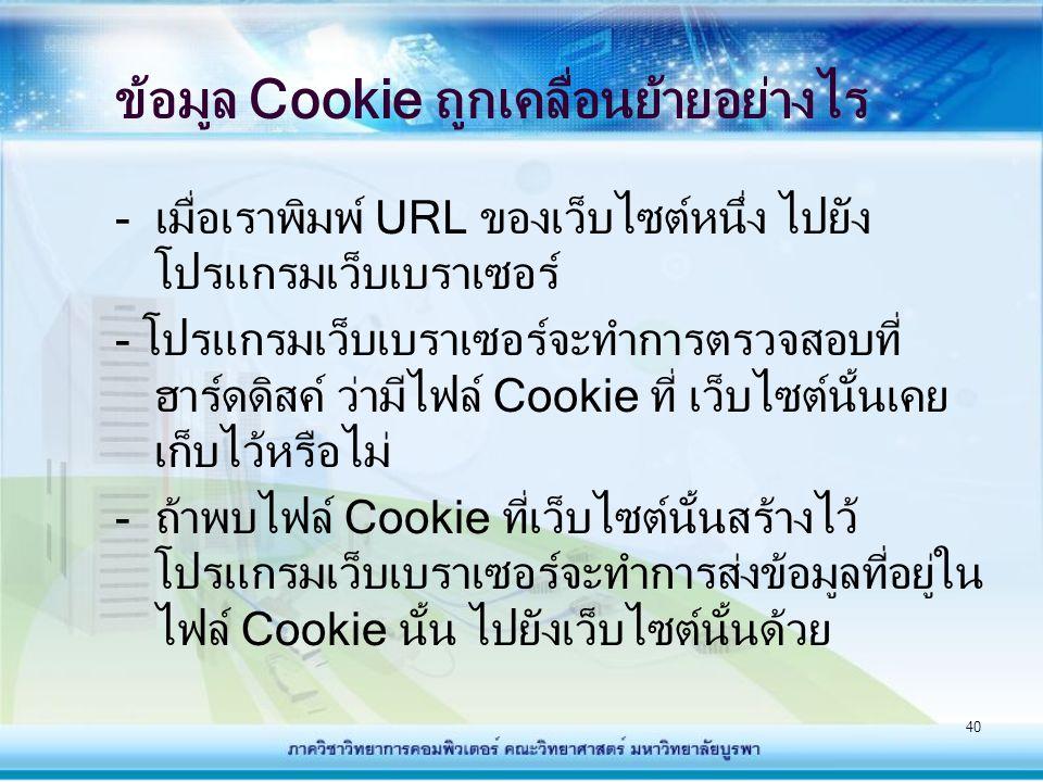 ข้อมูล Cookie ถูกเคลื่อนย้ายอย่างไร