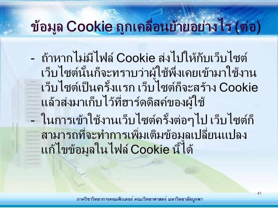 ข้อมูล Cookie ถูกเคลื่อนย้ายอย่างไร (ต่อ)