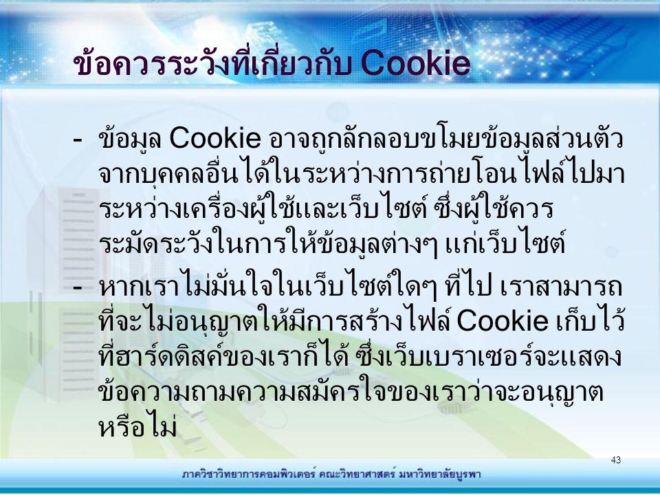 ข้อควรระวังที่เกี่ยวกับ Cookie