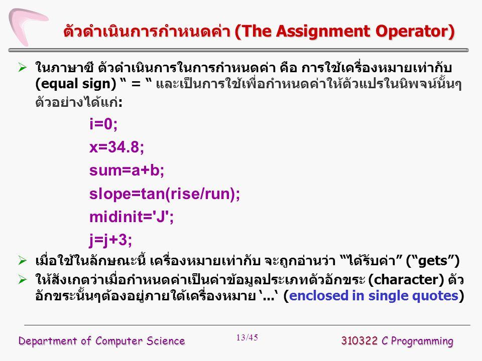 ตัวดำเนินการกำหนดค่า (The Assignment Operator)
