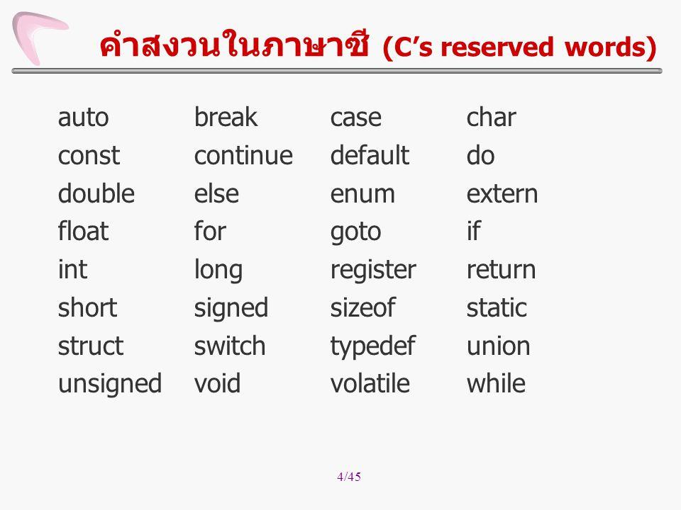 คำสงวนในภาษาซี (C's reserved words)