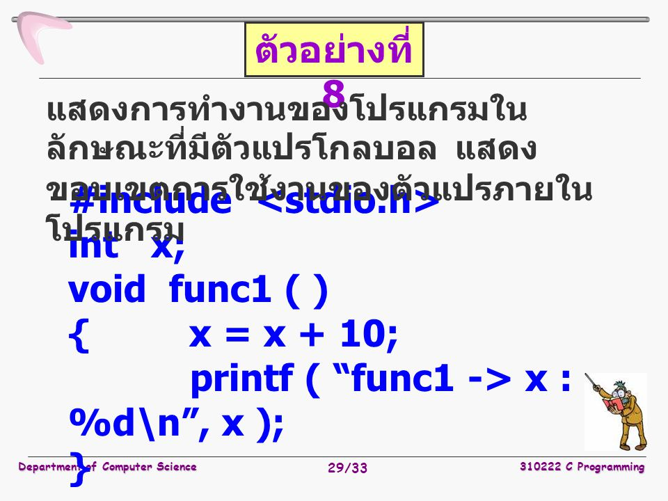 #include <stdio.h> int x; void func1 ( ) { x = x + 10;