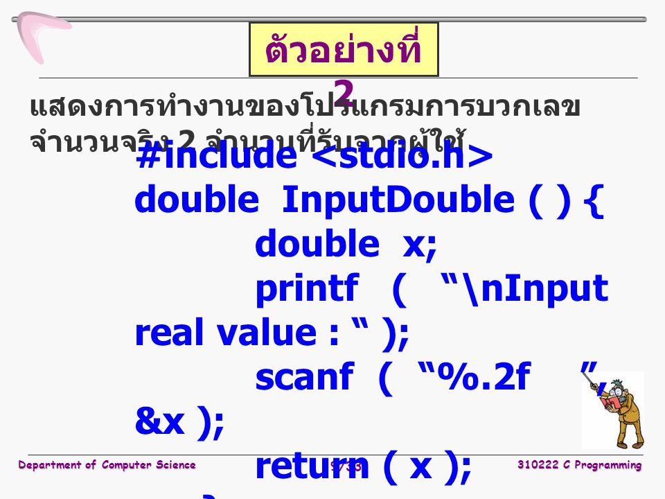 #include <stdio.h> double InputDouble ( ) { double x;