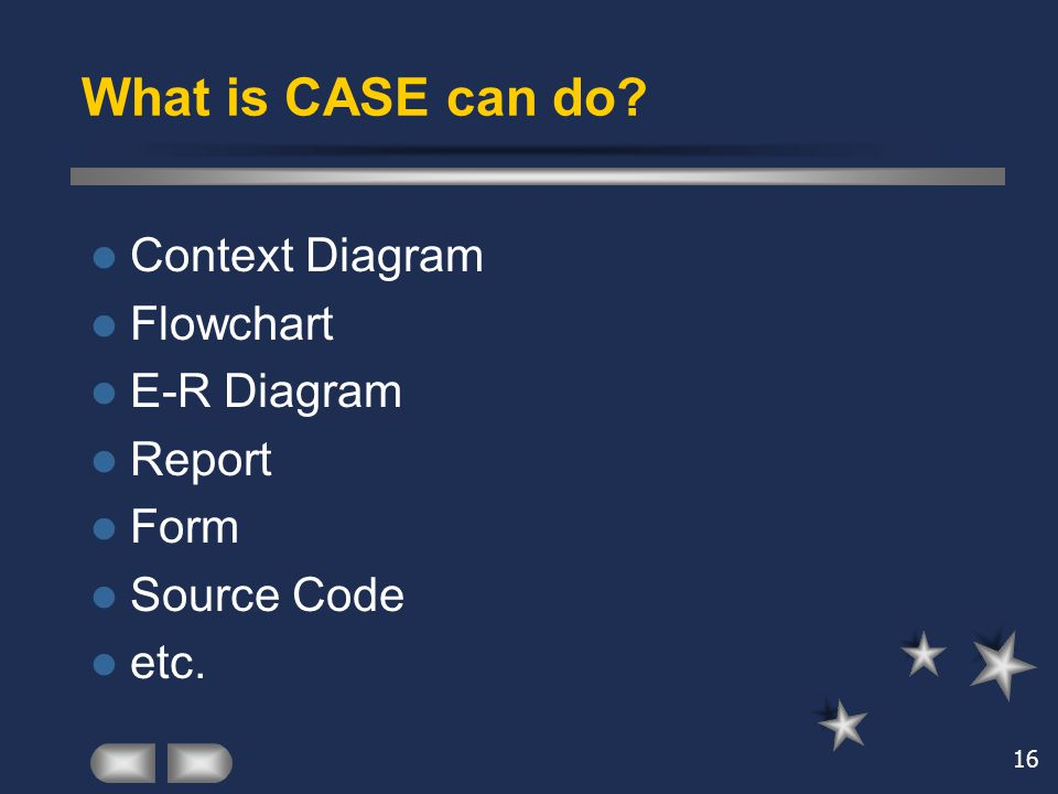 What is CASE can do Context Diagram Flowchart E-R Diagram Report Form