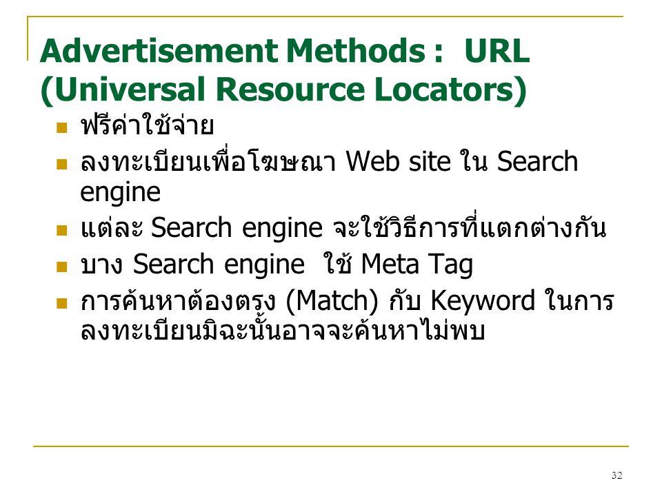 Advertisement Methods : URL (Universal Resource Locators)