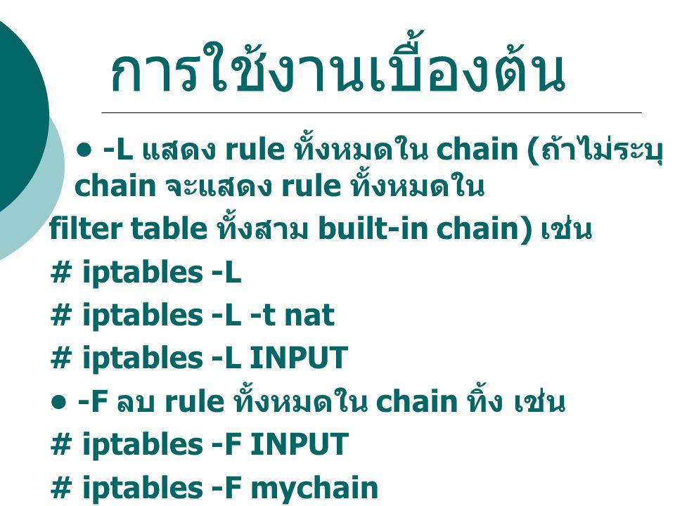 การใช้งานเบื้องต้น • -L แสดง rule ทั้งหมดใน chain (ถ้าไม่ระบุ chain จะแสดง rule ทั้งหมดใน. filter table ทั้งสาม built-in chain) เช่น.