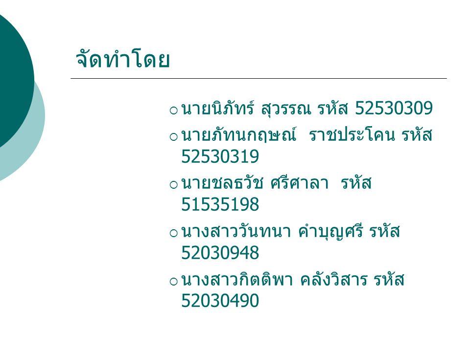 จัดทำโดย นายนิภัทร์ สุวรรณ รหัส 52530309