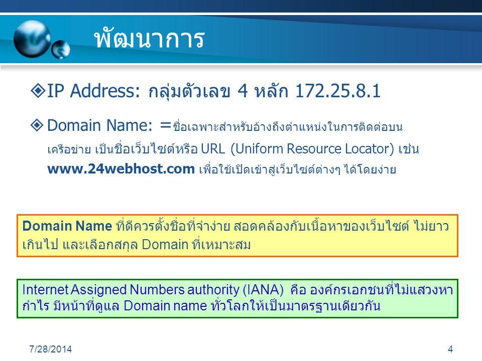 พัฒนาการ IP Address: กลุ่มตัวเลข 4 หลัก 172.25.8.1