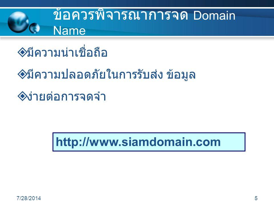 ข้อควรพิจารณาการจด Domain Name