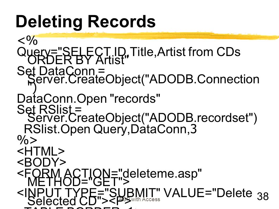 Deleting Records <%