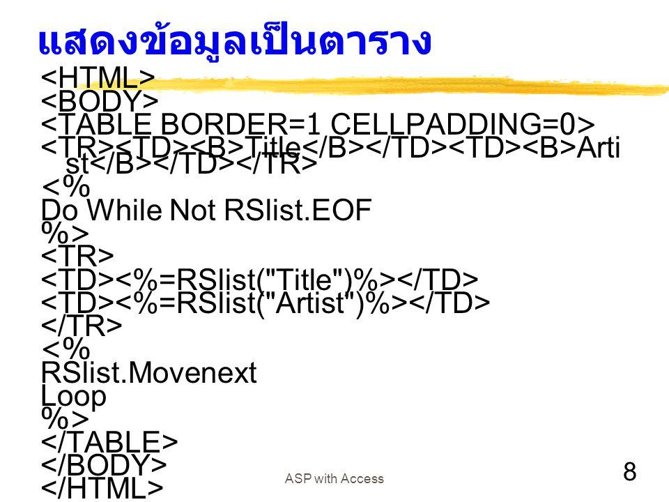 แสดงข้อมูลเป็นตาราง <HTML> <BODY>