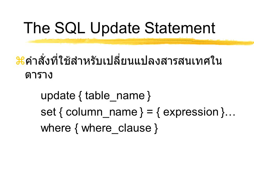 The SQL Update Statement