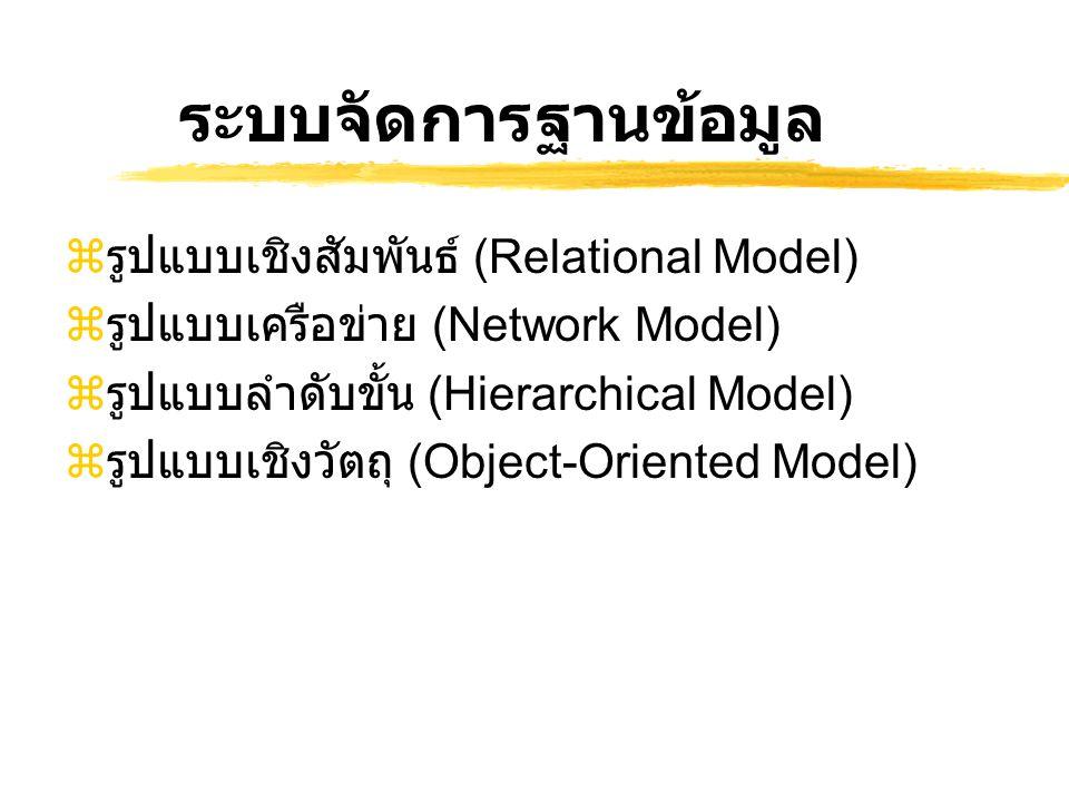 ระบบจัดการฐานข้อมูล รูปแบบเชิงสัมพันธ์ (Relational Model)