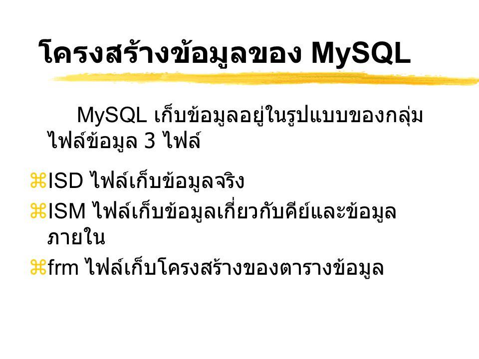 โครงสร้างข้อมูลของ MySQL