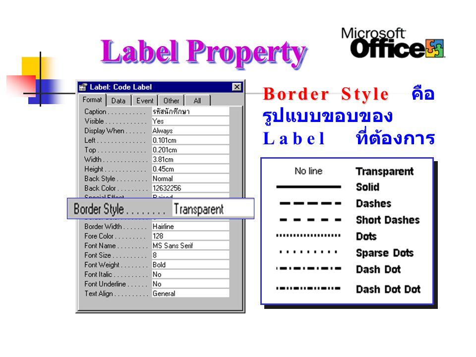 Label Property Border Style คือรูปแบบขอบของ Label ที่ต้องการ