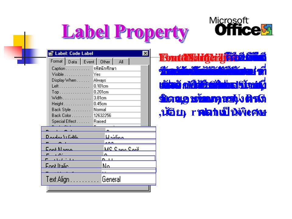 Label Property Font Underline คือขีดเส้นใต้ตัวอักษรหรือไม่