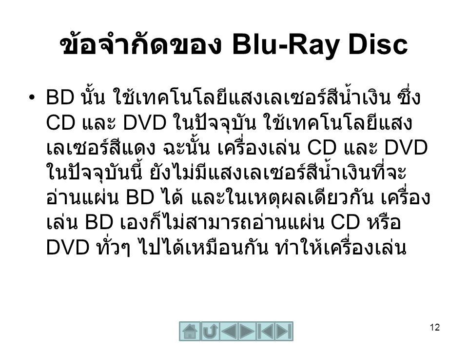 ข้อจำกัดของ Blu-Ray Disc