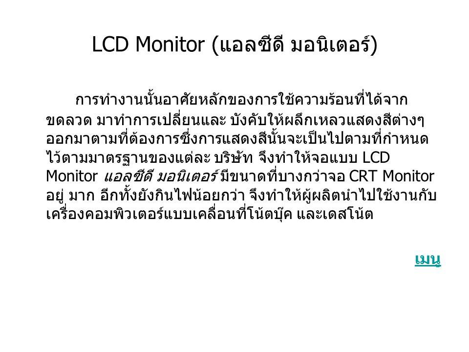 LCD Monitor (แอลซีดี มอนิเตอร์)