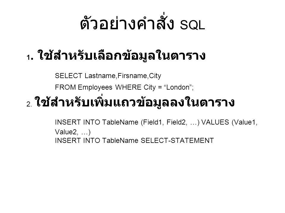 ตัวอย่างคำสั่ง SQL SELECT Lastname,Firsname,City