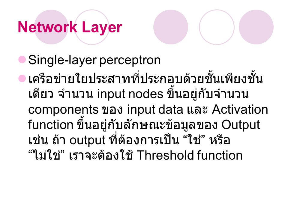 Network Layer Single-layer perceptron