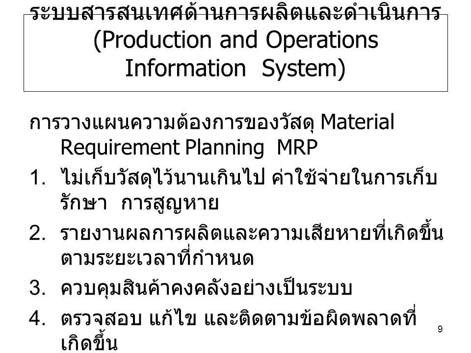 ระบบสารสนเทศด้านการผลิตและดำเนินการ (Production and Operations Information System)