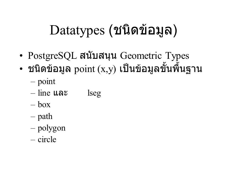 Datatypes (ชนิดข้อมูล)