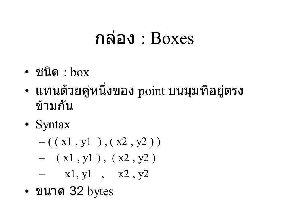 กล่อง : Boxes ชนิด : box. แทนด้วยคู่หนึ่งของ point บนมุมที่อยู่ตรงข้ามกัน. Syntax. ( ( x1 , y1 ) , ( x2 , y2 ) )