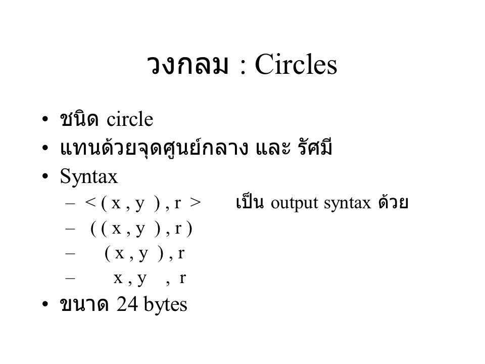 วงกลม : Circles ชนิด circle แทนด้วยจุดศูนย์กลาง และ รัศมี Syntax