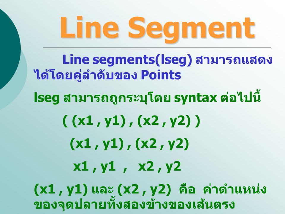 Line Segment Line segments(lseg) สามารถแสดงได้โดยคู่ลำดับของ Points