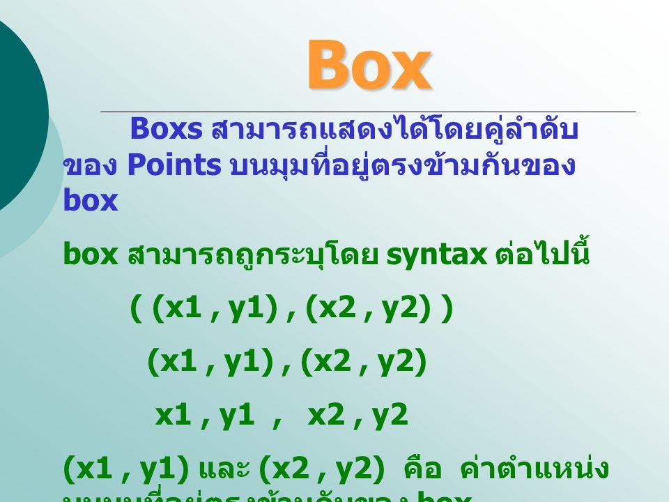 Box Boxs สามารถแสดงได้โดยคู่ลำดับของ Points บนมุมที่อยู่ตรงข้ามกันของ box. box สามารถถูกระบุโดย syntax ต่อไปนี้