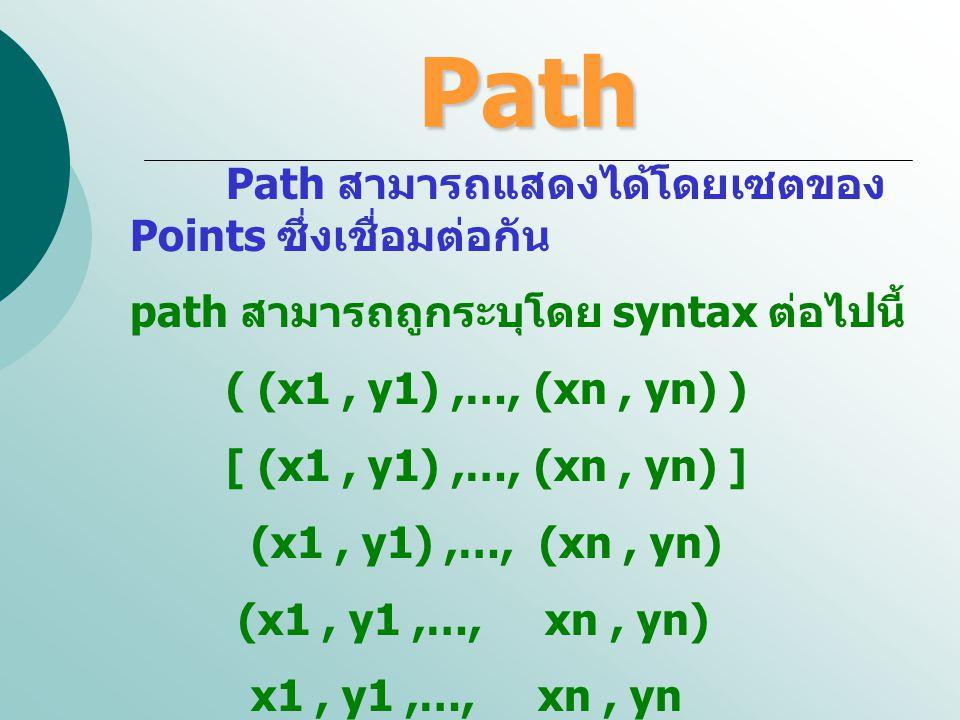 Path Path สามารถแสดงได้โดยเซตของ Points ซึ่งเชื่อมต่อกัน