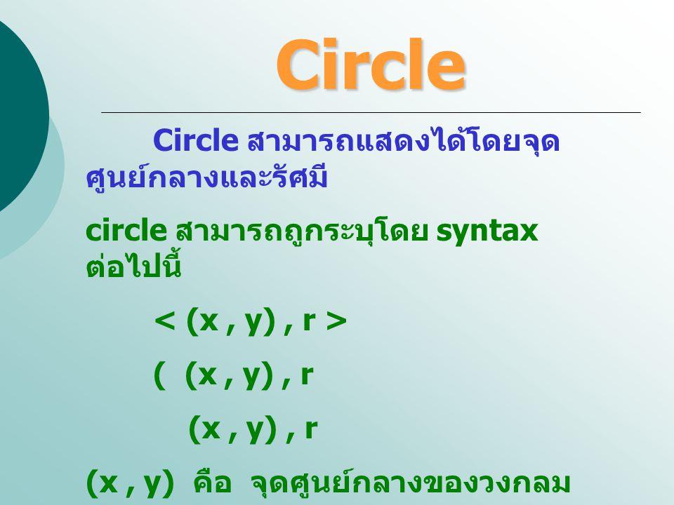 Circle Circle สามารถแสดงได้โดยจุดศูนย์กลางและรัศมี