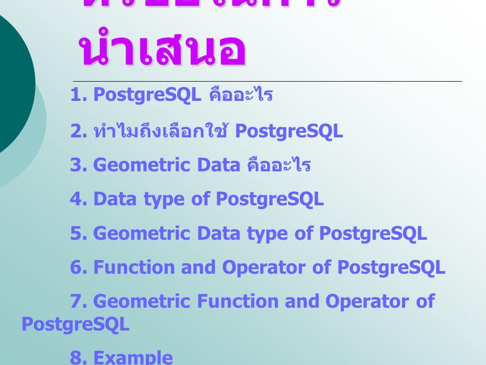 หัวข้อในการนำเสนอ 1. PostgreSQL คืออะไร 2. ทำไมถึงเลือกใช้ PostgreSQL