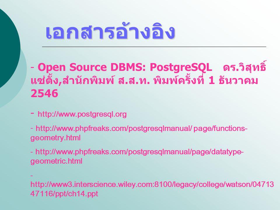 เอกสารอ้างอิง Open Source DBMS: PostgreSQL ดร.วิสุทธิ์ แซ่ตั้ง,สำนักพิมพ์ ส.ส.ท. พิมพ์ครั้งที่ 1 ธันวาคม 2546.