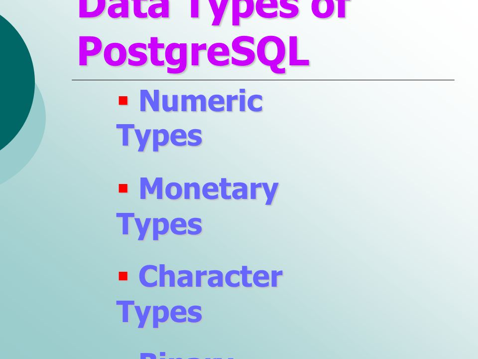 Data Types of PostgreSQL