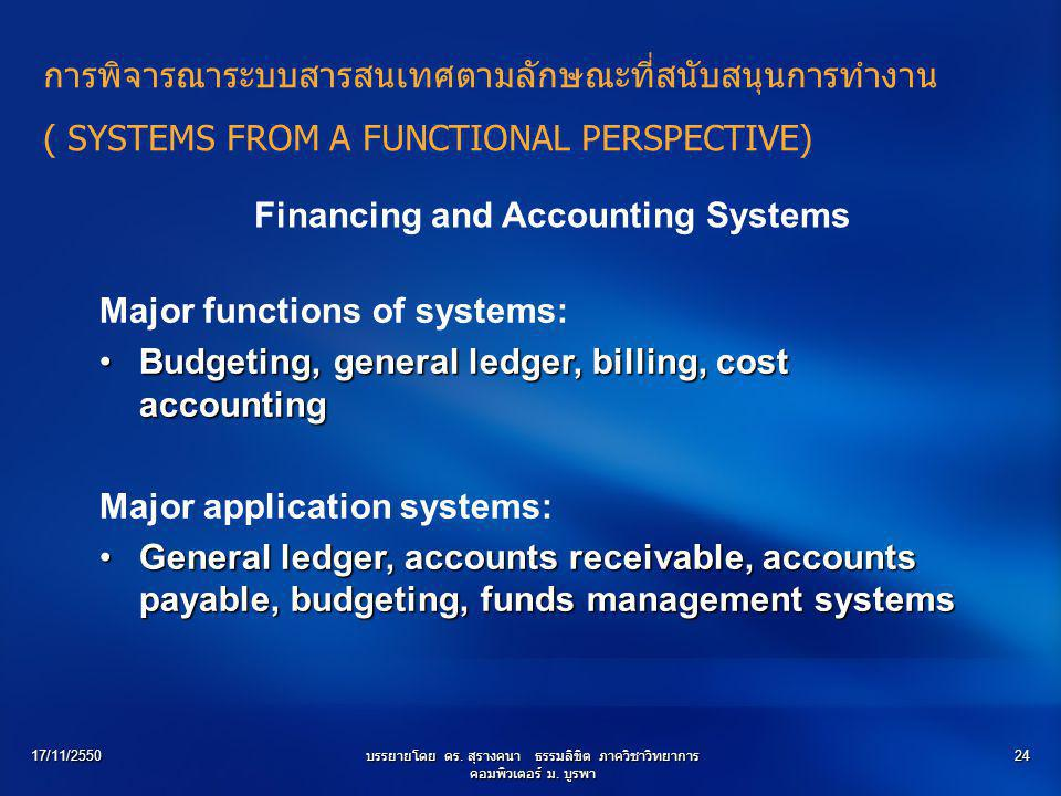 Financing and Accounting Systems