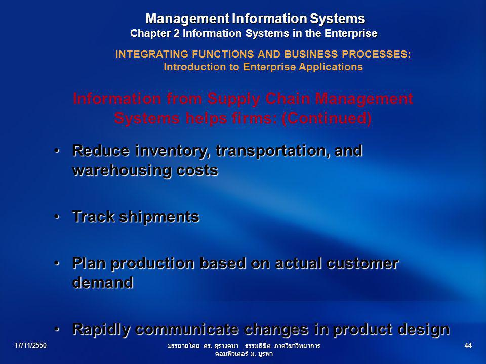 Reduce inventory, transportation, and warehousing costs