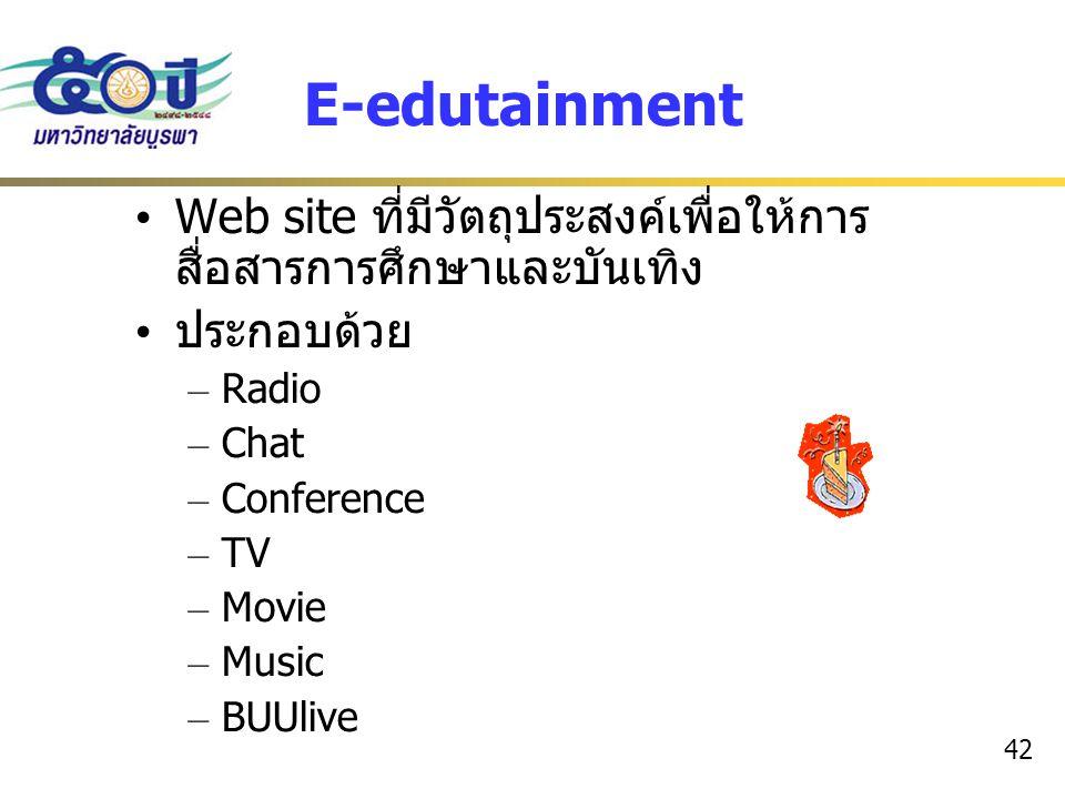 E-edutainment Web site ที่มีวัตถุประสงค์เพื่อให้การสื่อสารการศึกษาและบันเทิง. ประกอบด้วย. Radio. Chat.