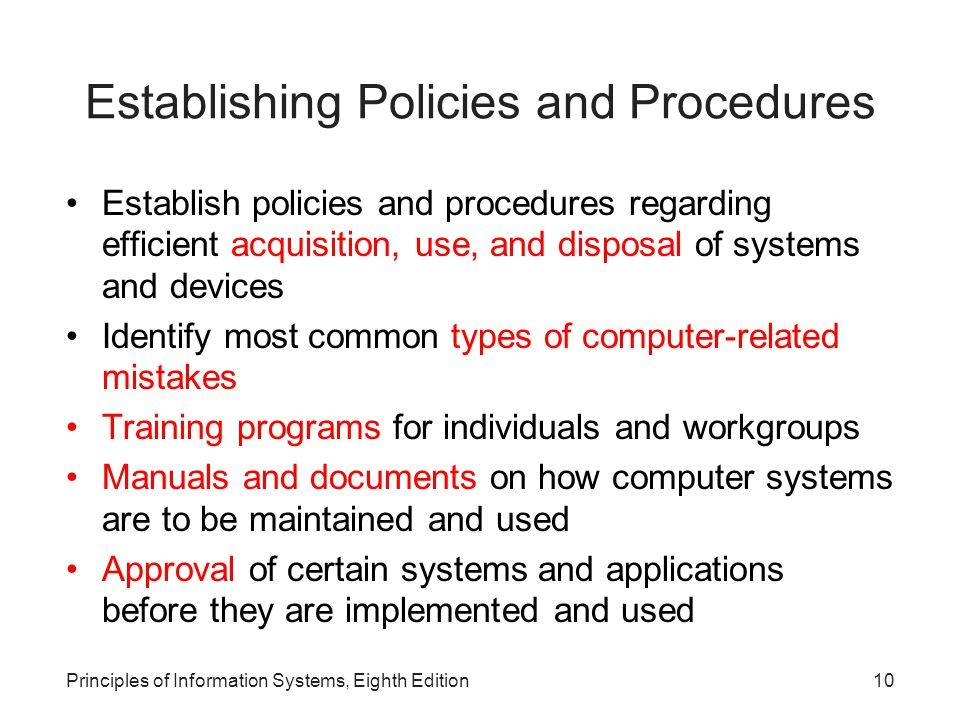 Establishing Policies and Procedures