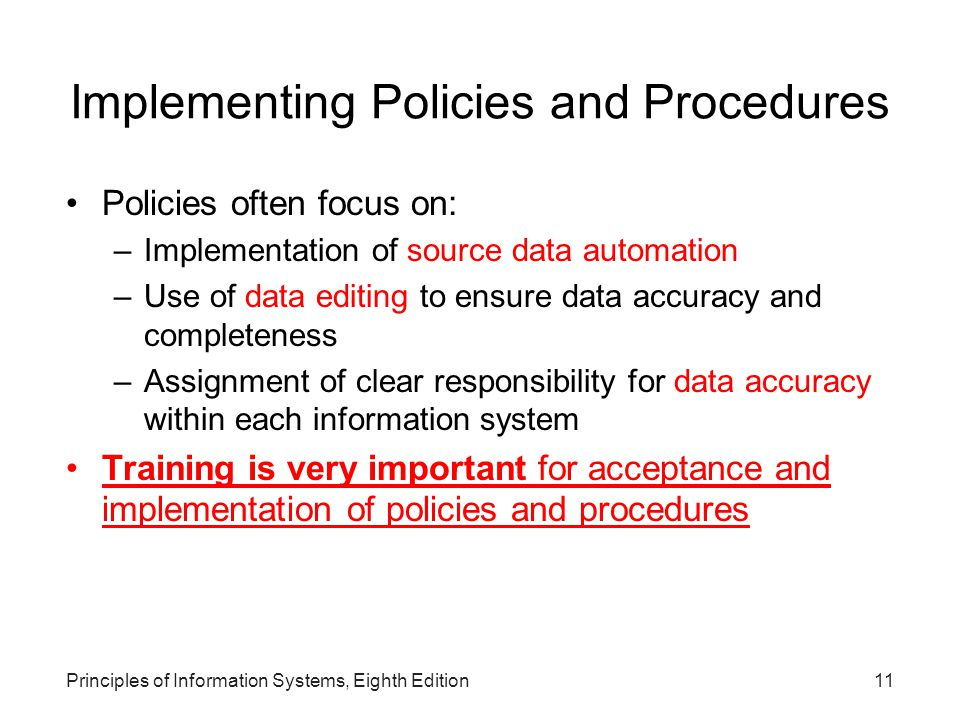 Implementing Policies and Procedures