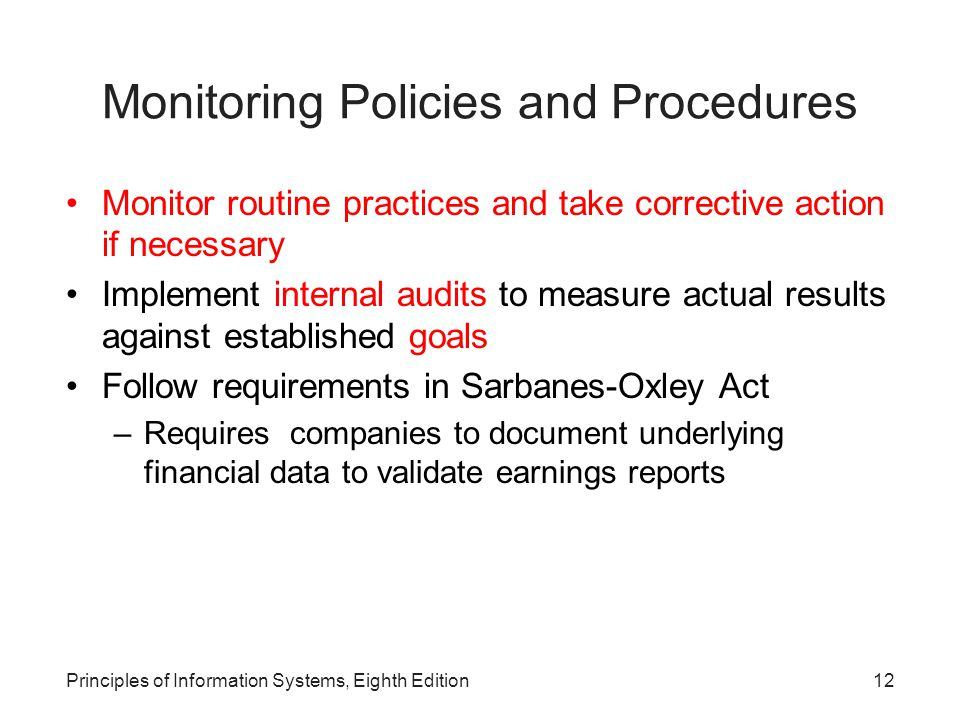 Monitoring Policies and Procedures