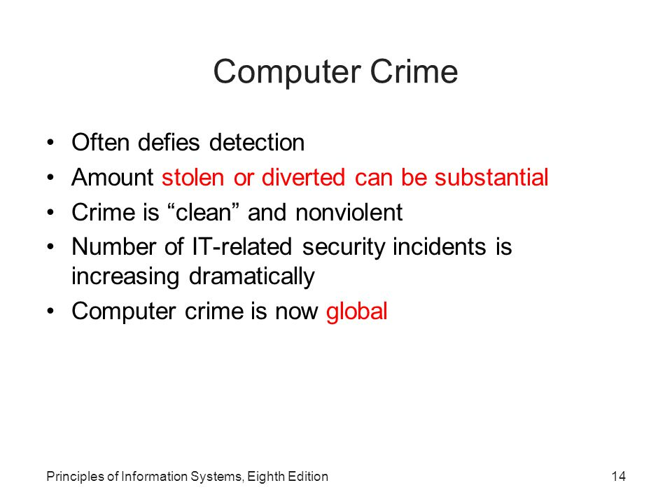 Computer Crime Often defies detection